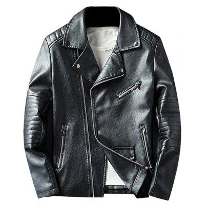Buy BLACK 3XL Asymmetrical Zip Faux Leather Jacket for $63.17 in GearBest store