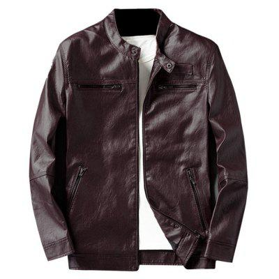 Buy WINE RED 2XL Zip Pocket Faux Leather Jacket for $62.75 in GearBest store