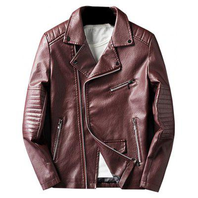 Buy WINE RED 3XL Asymmetrical Zip Faux Leather Jacket for $63.17 in GearBest store