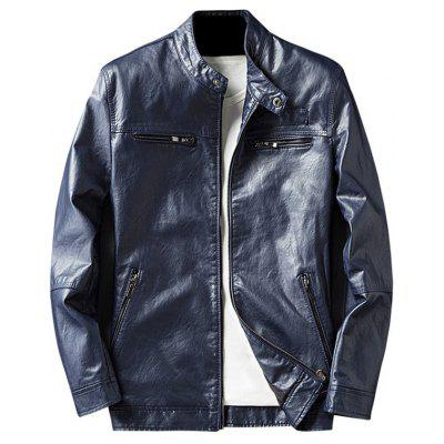 Buy BLUE 2XL Zip Pocket Faux Leather Jacket for $62.75 in GearBest store