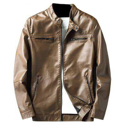 Buy LIGHT BROWN 3XL Zip Pocket Faux Leather Jacket for $62.75 in GearBest store