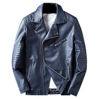 Buy BLUE 3XL Asymmetrical Zip Faux Leather Jacket for $63.17 in GearBest store