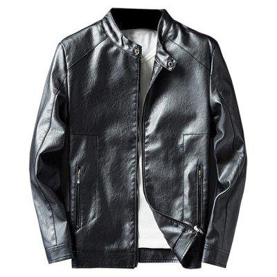 Buy BLACK 3XL Casual Faux Leather Jacket with Zip Pocket for $62.33 in GearBest store
