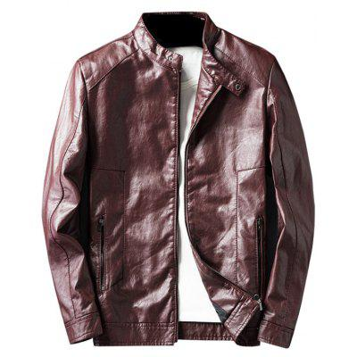 Buy WINE RED XL Casual Faux Leather Jacket with Zip Pocket for $62.33 in GearBest store