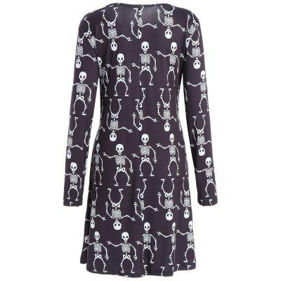 Halloween Skeleton Print Long Sleeve DressWomens Dresses<br>Halloween Skeleton Print Long Sleeve Dress<br><br>Dresses Length: Knee-Length<br>Material: Cotton, Polyester<br>Neckline: Round Collar<br>Occasion: Casual<br>Package Contents: 1 x Dress<br>Pattern Type: Skeleton<br>Season: Fall, Spring<br>Silhouette: A-Line<br>Sleeve Length: Long Sleeves<br>Style: Brief<br>Weight: 0.3000kg<br>With Belt: No