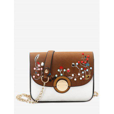 Buy BROWN Embroidery Rivets Chain Crossbody Bag for $21.72 in GearBest store