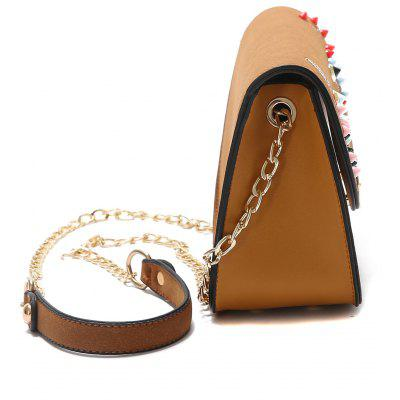 Embroidery Rivets Chain Crossbody BagEmbroidery Rivets Chain Crossbody Bag<br><br>Closure Type: Cover<br>Embellishment: Rivet<br>Gender: For Women<br>Handbag Size: Mini(&lt;20cm)<br>Handbag Type: Crossbody bag<br>Main Material: PU<br>Occasion: Versatile<br>Package Contents: 1 x Crossbody Bag<br>Pattern Type: Others<br>Size(CM)(L*W*H): 20*8.5*14<br>Style: Fashion<br>Weight: 0.6000kg
