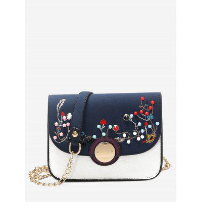 Buy BLUE Embroidery Rivets Chain Crossbody Bag for $21.72 in GearBest store