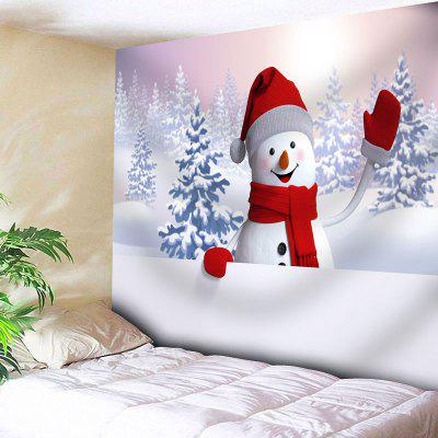 Buy WHITE Snowman Snowscape Print Wall Tapestry for $20.22 in GearBest store
