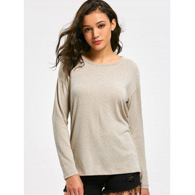 Drop Shoulder Open Back Knit TopSweaters &amp; Cardigans<br>Drop Shoulder Open Back Knit Top<br><br>Collar: Round Neck<br>Material: Polyester<br>Package Contents: 1 x Knitwear<br>Sleeve Length: Full<br>Style: Casual<br>Type: Pullovers<br>Weight: 0.3350kg