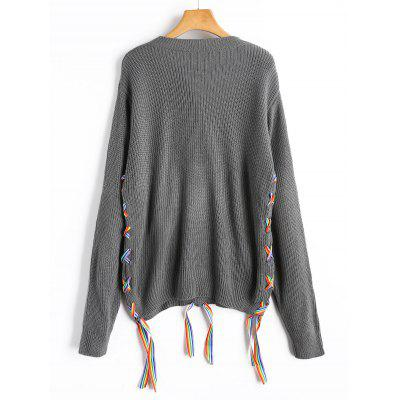 Colorful Lace Up SweaterSweaters &amp; Cardigans<br>Colorful Lace Up Sweater<br><br>Collar: Crew Neck<br>Material: Acrylic<br>Package Contents: 1 x Sweater<br>Sleeve Length: Full<br>Style: Fashion<br>Type: Pullovers<br>Weight: 0.4100kg