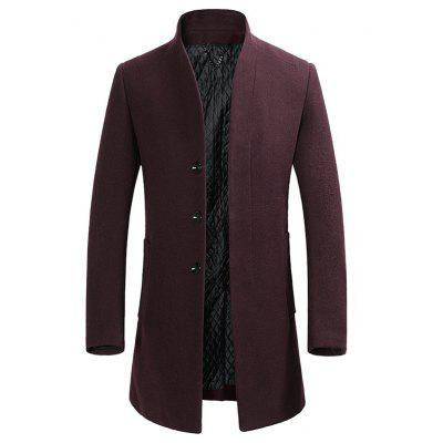 Buy WINE RED L Cover Closure Slim Wool Blend Coat for $76.28 in GearBest store