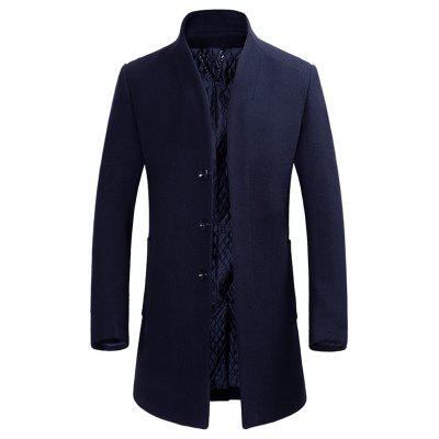 Buy CADETBLUE L Cover Closure Slim Wool Blend Coat for $76.28 in GearBest store