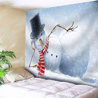 Buy BLUE AND WHITE Snowman Print Wall Hanging Tapestry for $20.22 in GearBest store