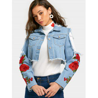 Buy LIGHT BLUE L Floral Patched Cut Out Crop Denim Jacket for $36.52 in GearBest store