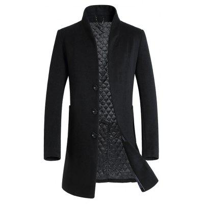 Buy BLACK L Cover Closure Slim Wool Blend Coat for $76.28 in GearBest store