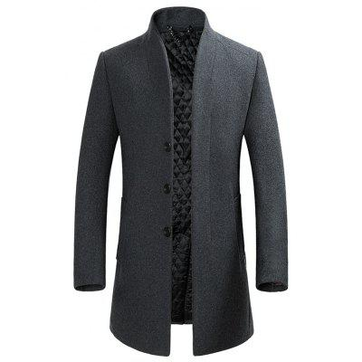 Buy GRAY L Cover Closure Slim Wool Blend Coat for $76.28 in GearBest store