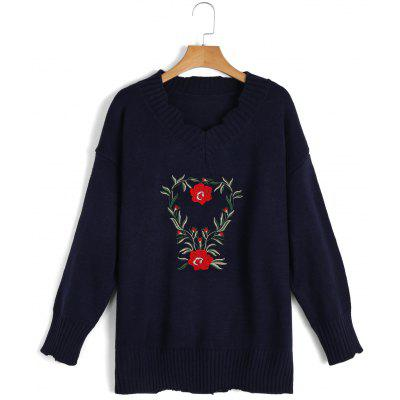 Buy PURPLISH BLUE V Neck Embroidered Frayed Sweater for $30.81 in GearBest store