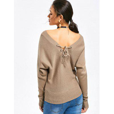 Lace Up V Neck Sweater