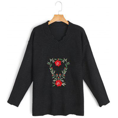 Buy BLACK V Neck Embroidered Frayed Sweater for $30.81 in GearBest store