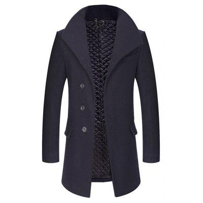 Buy CADETBLUE 3XL Cover Closure Slim Fit Wool Blend Coat for $83.32 in GearBest store