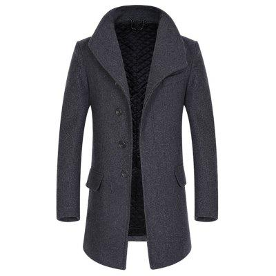 Buy GRAY 3XL Cover Closure Slim Fit Wool Blend Coat for $83.32 in GearBest store
