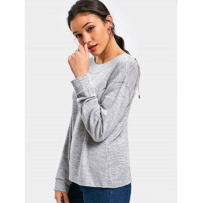 Drop Shoulder Back Lace Up SweatshirtSweatshirts &amp; Hoodies<br>Drop Shoulder Back Lace Up Sweatshirt<br><br>Clothing Style: Sweatshirt<br>Material: Polyester<br>Package Contents: 1 x Sweatshirt<br>Pattern Style: Solid<br>Shirt Length: Regular<br>Sleeve Length: Full<br>Weight: 0.3850kg
