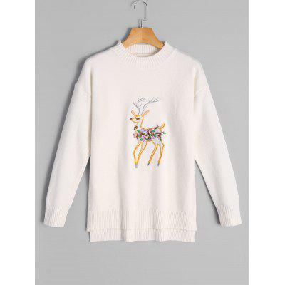 Fawn Embroidery High Low Sweater