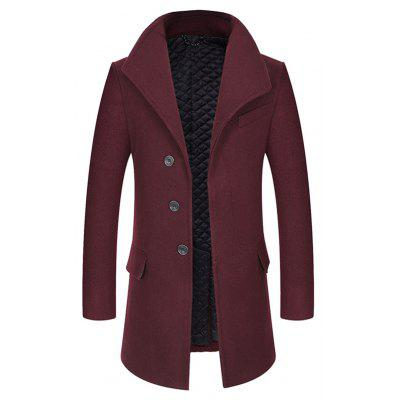 Buy WINE RED 3XL Cover Closure Slim Fit Wool Blend Coat for $83.32 in GearBest store