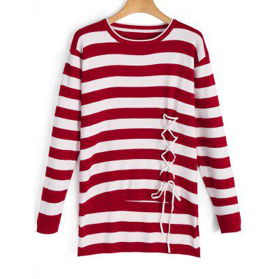 Striped Lace Up Pullover Sweater