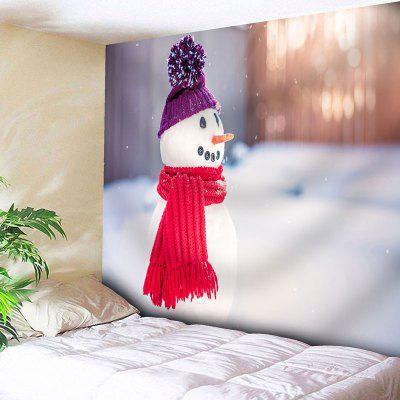 Buy WHITE Wall Decor Snowman Print Bedroom Tapestry for $22.23 in GearBest store
