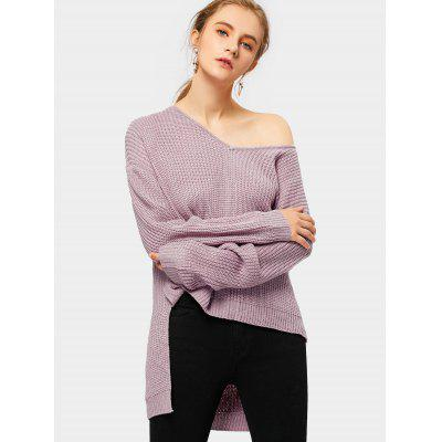 Buy PALE PINKISH GREY V Neck Drop Shoulder High Low Chunky Sweater for $25.30 in GearBest store