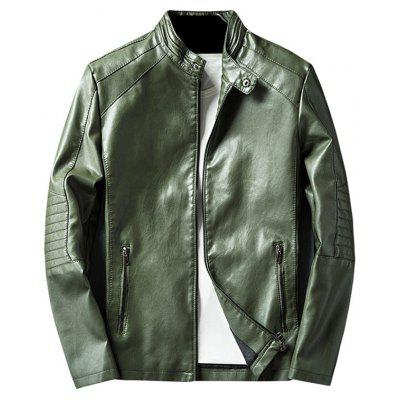 Buy GREEN L Mandarin Collar Zip Up PU Leather Jacket for $60.17 in GearBest store