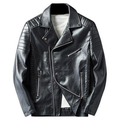 Buy BLACK XL Pleated Rib Asymmetrical Zip Faux Leather Jacket for $63.73 in GearBest store