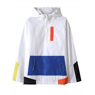 Buy WHITE L Half Zip Color Block Hooded Jacket for $34.89 in GearBest store