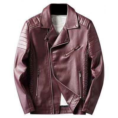 Buy WINE RED 2XL Pleated Rib Asymmetrical Zip Faux Leather Jacket for $63.73 in GearBest store