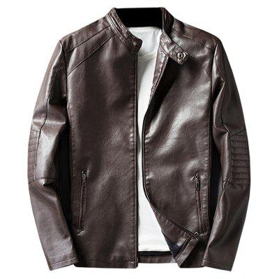 Buy COFFEE L Mandarin Collar Zip Up PU Leather Jacket for $60.17 in GearBest store