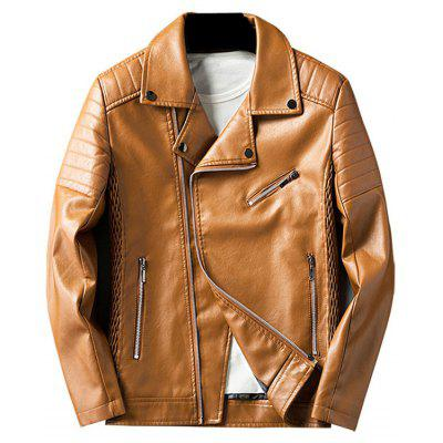 Buy LIGHT BROWN 3XL Pleated Rib Asymmetrical Zip Faux Leather Jacket for $63.73 in GearBest store