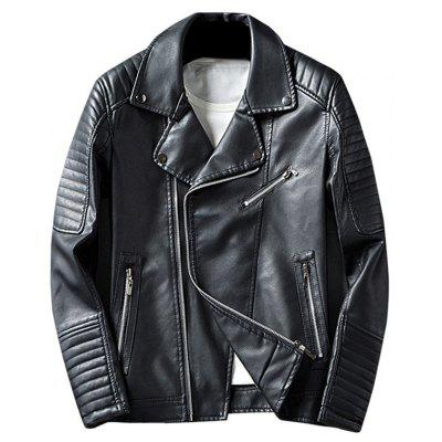 Buy BLACK XL Asymmetrical Zip Up Lapel Faux Leather Jacket for $64.56 in GearBest store