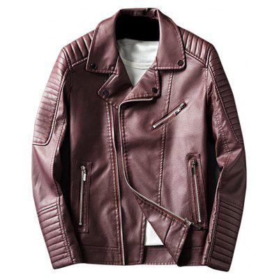 Buy WINE RED L Asymmetrical Zip Up Lapel Faux Leather Jacket for $64.56 in GearBest store