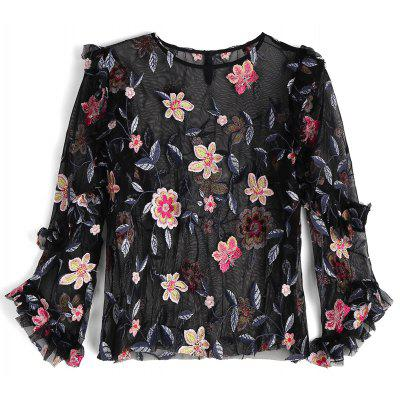 Buy BLACK L Floral Embroidered See Thru Ruffles Blouse for $25.99 in GearBest store