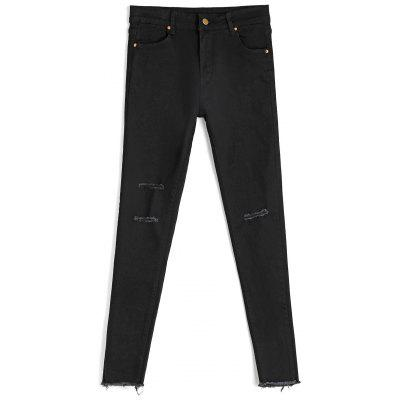 Buy BLACK L Ninth Destroyed Skinny Pencil Jeans for $29.69 in GearBest store