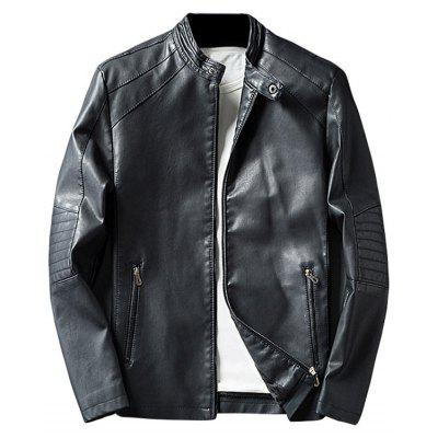 Buy BLACK 3XL Mandarin Collar Zip Up PU Leather Jacket for $60.17 in GearBest store