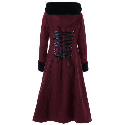 Lace Up Longline Hooded CoatJackets &amp; Coats<br>Lace Up Longline Hooded Coat<br><br>Clothes Type: Wool &amp; Blends<br>Collar: Hooded<br>Material: Polyester<br>Package Contents: 1 x Coat<br>Pattern Type: Solid<br>Season: Fall, Spring, Winter<br>Shirt Length: Long<br>Sleeve Length: Full<br>Style: Gothic<br>Type: Slim<br>Weight: 1.2450kg