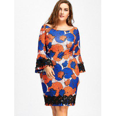 Plus Size Floral Print Lace Insert Bodycon DressPlus Size Dresses<br>Plus Size Floral Print Lace Insert Bodycon Dress<br><br>Dresses Length: Knee-Length<br>Material: Polyester, Spandex<br>Neckline: Boat Neck<br>Package Contents: 1 x Dress<br>Pattern Type: Floral<br>Season: Spring, Fall<br>Silhouette: Bodycon<br>Sleeve Length: Long Sleeves<br>Sleeve Type: Flare Sleeve<br>Style: Brief<br>Weight: 0.4200kg<br>With Belt: No