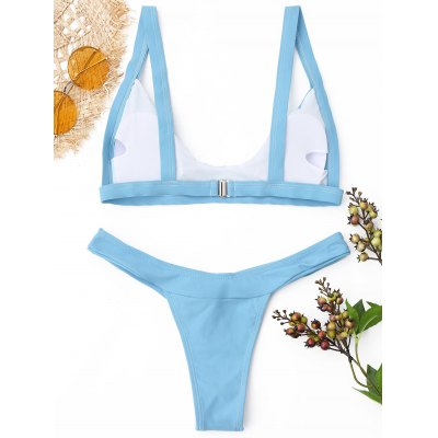 Padded Low Waisted Thong Bikini SetLingerie &amp; Shapewear<br>Padded Low Waisted Thong Bikini Set<br><br>Bra Style: Padded<br>Elasticity: Elastic<br>Gender: For Women<br>Material: Nylon, Spandex<br>Neckline: Spaghetti Straps<br>Package Contents: 1 x Bra  1 x Briefs<br>Pattern Type: Solid<br>Style: Sexy<br>Support Type: Wire Free<br>Swimwear Type: Bikini<br>Waist: Low Waisted<br>Weight: 0.2700kg