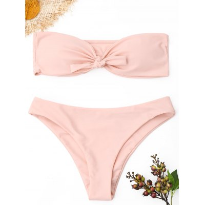 Buy PINK L Strapless Knot Bandeau Bikini Set for $16.95 in GearBest store