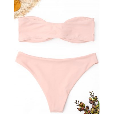 Strapless Knot Bandeau Bikini SetLingerie &amp; Shapewear<br>Strapless Knot Bandeau Bikini Set<br><br>Bikini Type: Bandeau Bikini<br>Bra Style: Padded<br>Elasticity: Elastic<br>Gender: For Women<br>Material: Nylon, Spandex<br>Neckline: Strapless<br>Package Contents: 1 x Bra  1 x Briefs<br>Pattern Type: Solid<br>Style: Sexy<br>Support Type: Wire Free<br>Swimwear Type: Bikini<br>Waist: Natural<br>Weight: 0.2400kg