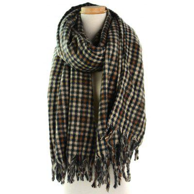 Outdoor Small Check Pattern Fringe Long Scarf