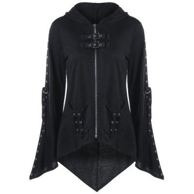 O Dia das Bruxas Eyelets Decorated Zip Up Hoodie